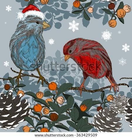 Christmas seamless pattern with birds. Raster version  - stock photo