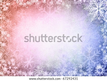 Christmas Seamless Pattern with snowflakes on colorful background - stock photo