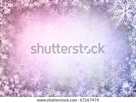 Christmas Seamless Pattern with snowflakes on purple background - stock photo