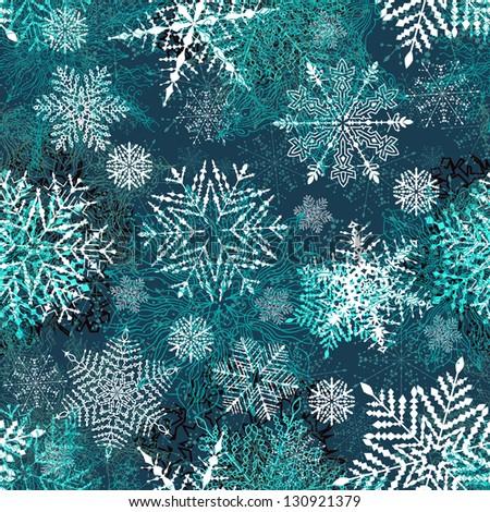 Christmas Seamless Pattern With Snowflakes. Raster Version - stock photo