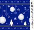 Christmas seamless pattern with xmas balls, stars, snowflakes and xmas trees on blue background. Vector also available. - stock vector