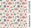 Christmas seamless retro pattern. Check my portfolio for vector version. - stock photo