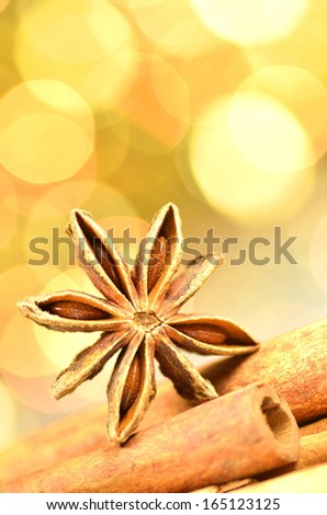 christmas season, cinnamon sticks, anise star on bokeh background
