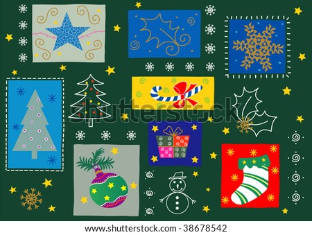"Christmas season ornaments. Vector version of this image (""*.eps"") also available in my portfolio."