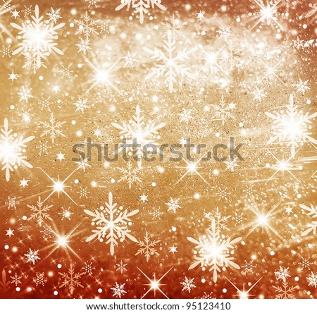 Christmas sepia gilded and bright background with stars - stock photo