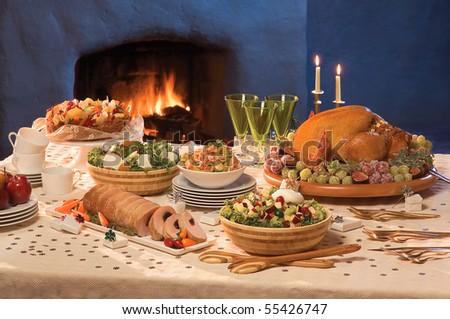 Christmas Served Table - stock photo
