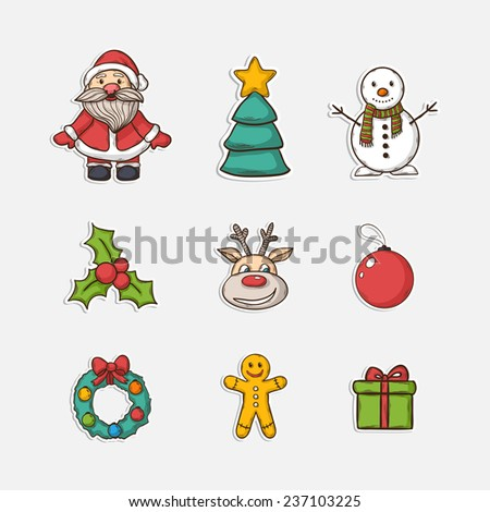 Christmas set icons in doddle style with Christmas tree ,Santa Claus,snowman,gift,Christmas wreath,Christmas toys,deer