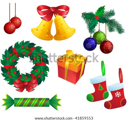 Christmas set on white background.  Raster version of vector. - stock photo