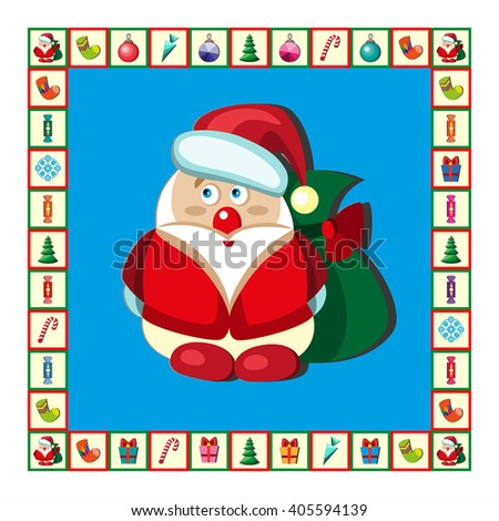 Christmas set Santa Claus, emblems and other decorative elements.  - stock photo