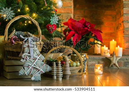 poinsettia christmas background setting pine fireplace cones decorated basket decorations tree shutterstock toned selective candles focus lights