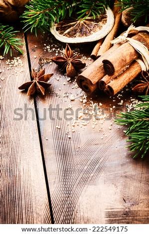 Christmas setting with seasonal spices  - stock photo