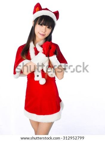 Christmas sexy cat girl Sexy mrs. Santa Claus isolated  - stock photo