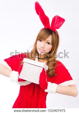 Christmas sexy rabbit girl asian  - stock photo