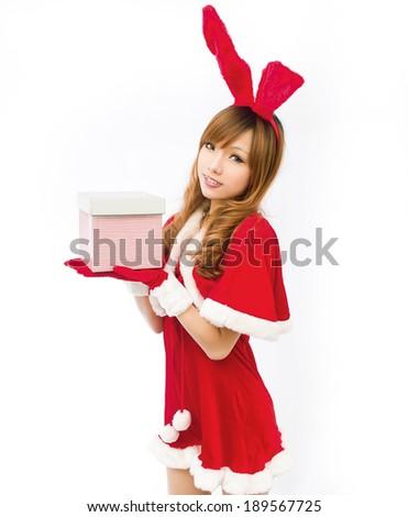 Christmas sexy rabbit girl asian with gif box - stock photo