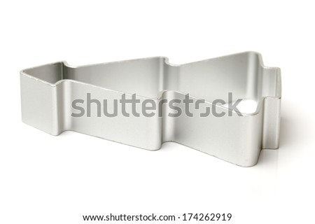 Christmas shapes pastry cutters on white background