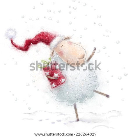 Christmas sheep. Cute sheep with the gift in Santa hat on snow background. Christmas greeting card. Happy New Year. Marry Christmas card. Christmas gift. Christmas postcard design. Santa Claus hat - stock photo
