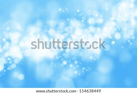 Christmas shiny background with lights and copy space in blue silver colors - stock photo