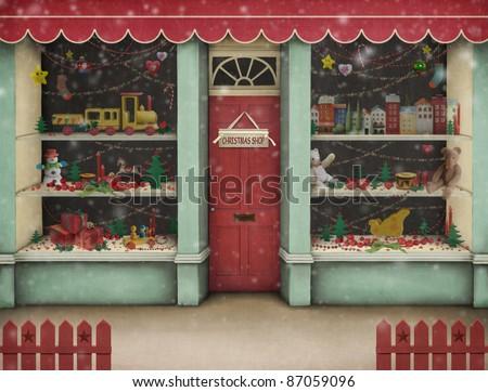Christmas  shop. - stock photo