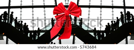 Christmas shopping at the airport - stock photo