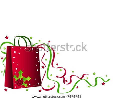 Christmas shopping bag with holly, ribbons and stars - stock photo