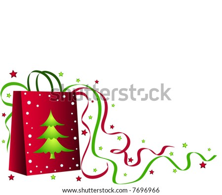 Christmas shopping bag with tree, ribbons and stars - stock photo