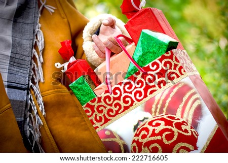Christmas shopping - Christmas presents (holiday sale) - stock photo