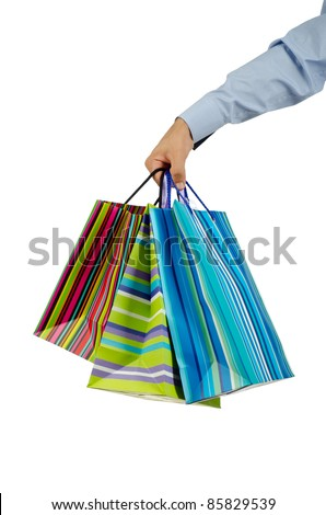 Christmas shopping concept with bags - stock photo