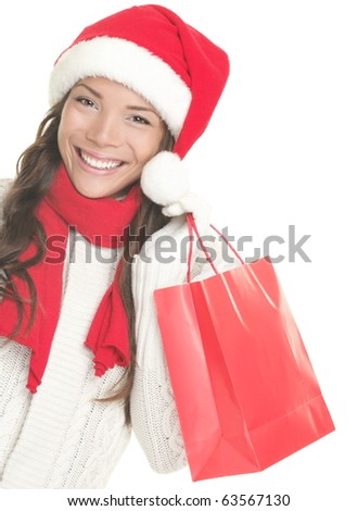 Christmas shopping woman isolated on white background. - stock photo
