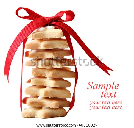 Christmas shortbread cookies, clipping path included. - stock photo