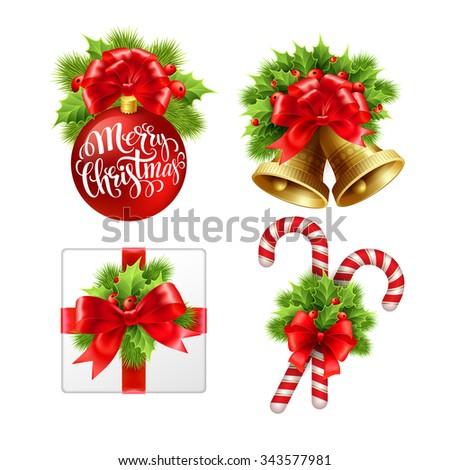Christmas sign set. Illustration - stock photo
