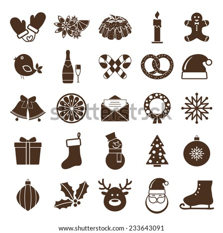 Christmas silhouettes icons. Santa and deer, horses and gift, snow man and jingle bells, wreath and noel tree - stock photo