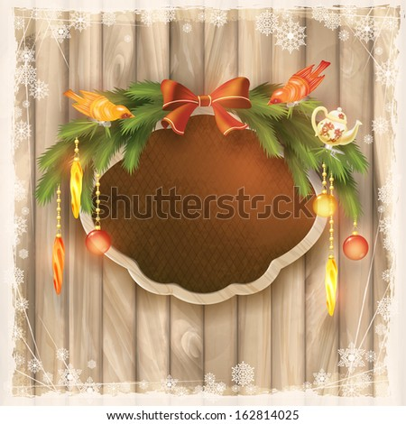 Christmas silk board with wooden frame, Christmas garland, bow, Christmas tree decorations, ornaments, toys, birds, snowflakes, grunge elements on wood wall background in vintage style. New year card - stock photo