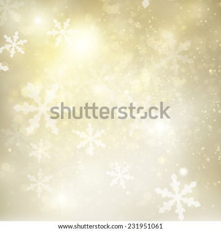 christmas silver  and gold background with bright  sparkles and snowflakes - stock photo