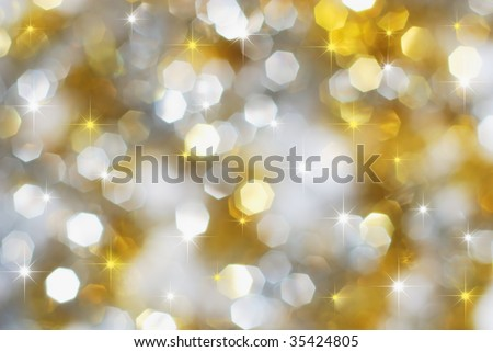 Christmas silver and gold lights and stars