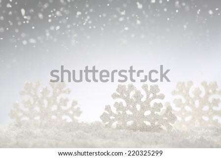 Christmas silver background with snowflakes - stock photo