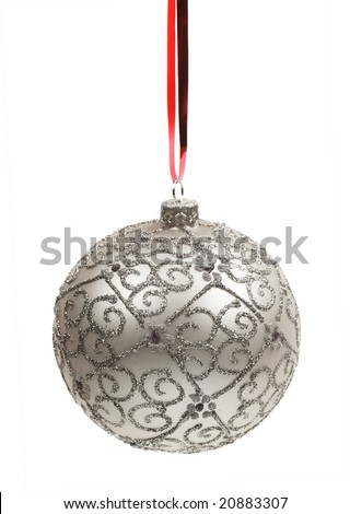 Christmas silver ball on a white background - stock photo