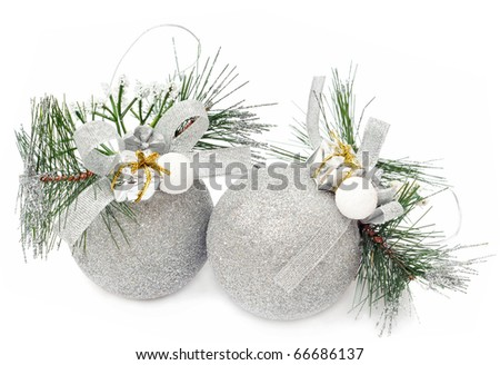 Christmas silver balls on the white, isolated background