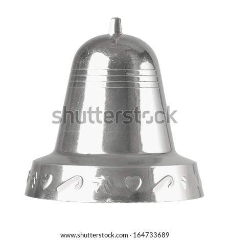 Christmas silver bell isolated on white background - stock photo