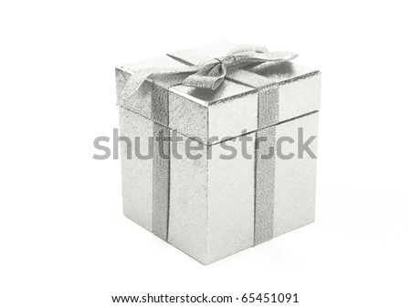 Christmas silver gift-box on white background, with silver ribbon - stock photo