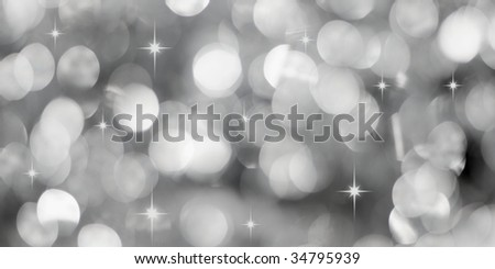Christmas silver lights background with little stars - stock photo