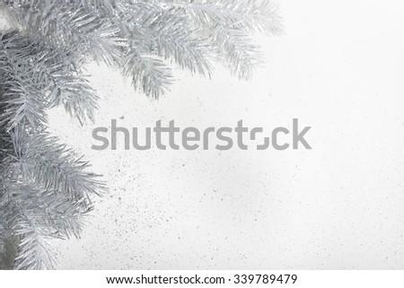 Christmas silver twig. - stock photo
