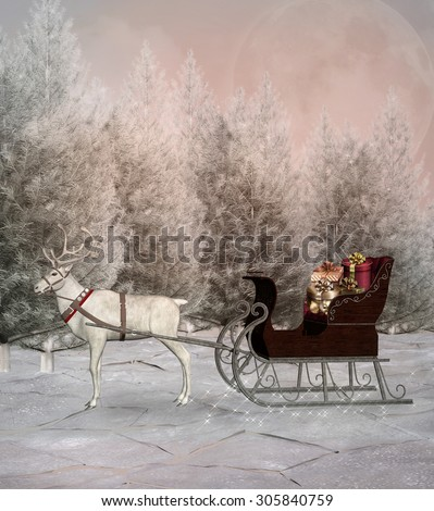 Christmas sledge in a winter scenery - stock photo