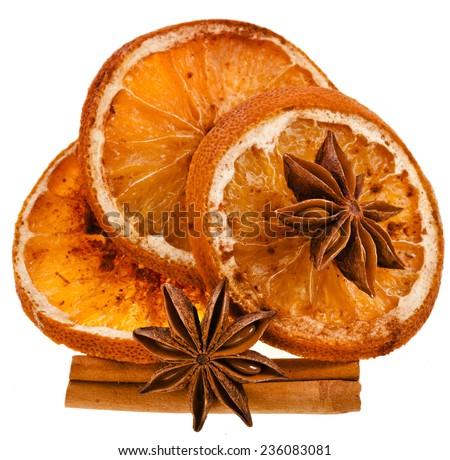 Christmas sliced dried orange with cinnamon sticks and anise - stock photo