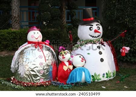 Christmas snow dolls collection - stock photo