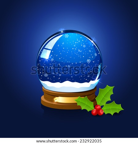 Christmas snow globe and holly berry on blue background, illustration. - stock photo