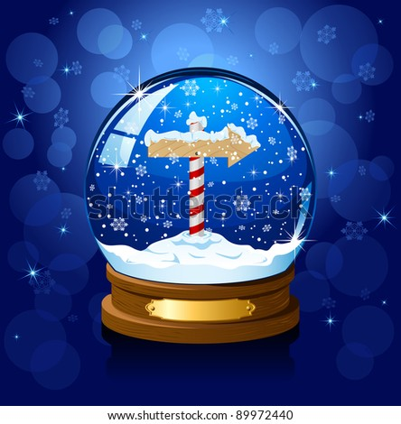 Christmas Snow globe with North Pole sign and the falling snow, illustration - stock photo