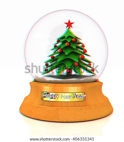 Christmas Snow globe with the falling snow and christmas tree on a white background. 3D illustration. Anaglyph. View with red/cyan glasses to see in 3D. - stock photo