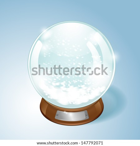 Christmas Snow globe with the falling snow. Raster version of the loaded vector.