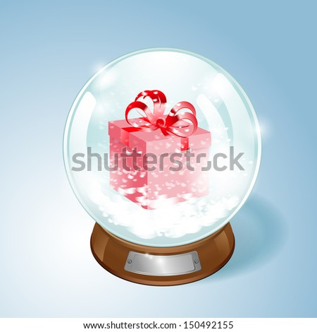 Christmas Snow globe with the gift and the falling snow. Raster version. - stock photo