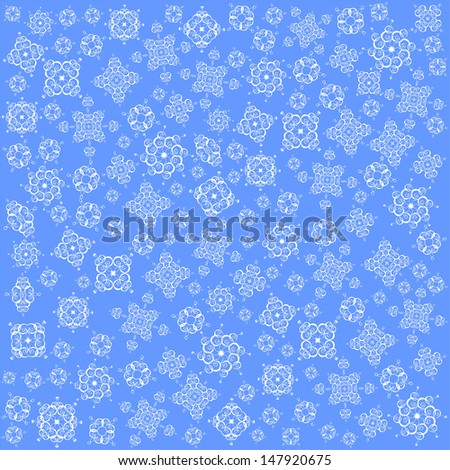 Christmas Snowfall on Blue Background, Raster Version - stock photo